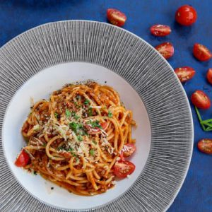 zöldséges bolognai spagetti